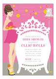 Pink Brunette Classic Crib Mama Invitation