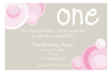 Pink Bubbly One Invitation
