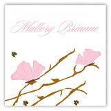 Pink Butterfly Landing Square Sticker