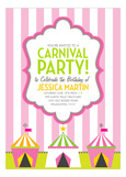 Pink Carnival Stripes Circus Invitation