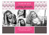 Pink Chevron Dots Grad Photo Card