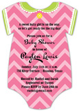 Pink Chevron Onesie Invitation