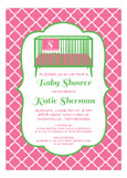 Pink Crib and Blanket Baby Shower Invitation