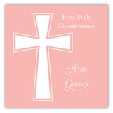 Pink Cross Banner Square Sticker