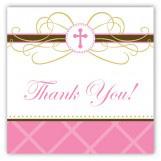 Pink Cross Pendant Square Sticker