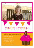 Pink Cupcake Banner Photo Invitation