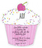 Pink Cupcake Die-cut Invitation