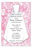Pink Damask Wedding Dress Bridal Invitations