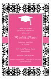 Pink Damask Grad Invitation