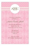 Pink Damask Monogram Invitation