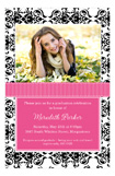 Pink Damask Photo Card