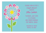 Pink Diaper Pin Flower Modern Baby Shower Invites