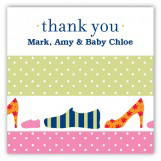 Pink Family Shoes Square Sticker