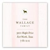 Pink Faux Bois Square Sticker