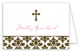 Brown Cross Pink Floral Damask Folded Note Card