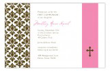 Pink Floral Damask First Communion Invitations