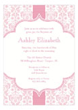 Pink Ribbon Floral Damask Invitations