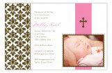 Pink Floral Damask Girls First Communion Photo Card