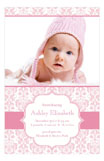Pink Floral Damask Photo Card