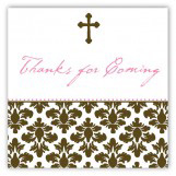 Pink Floral Damask Cross Square Sticker
