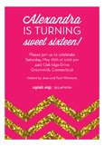 Pink Glitter Chevron Invitation