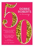 Pink Glitter 50th Birthday Invitations