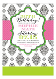 Pink + Green Brocade Birthday Invitation