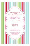 Pink Green Stripes Invitation