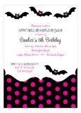 Pink Halloween Bats Invitation