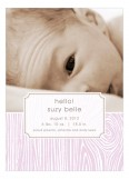 Pink Hello Faux Bois Photo Card