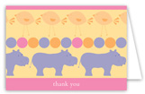 Pink Hippos Folded Note Card