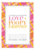 Pink Love and Poopy Diapers Trendy Baby Shower Invitations