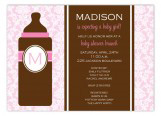 Pink Monogram Baby Bottle Invitation