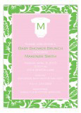 Pink Monogram Onesie Invitation