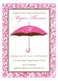 Pink Monogram Umbrella Shower Invitation