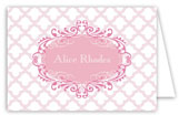 Pink Ornate Pattern Folded Note Card