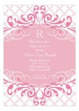 Pink Ornate Pattern Princess Baby Shower Invitations