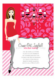 Pink + Red Brocade Girl Invitation