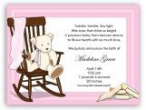 Pink Rocking Bear Invitation