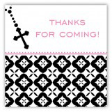 Pink Rosary Beads Square Sticker