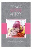 Pink Snowy Grosgrain Photo Card
