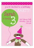 Pink Sock Monkey With Balloon Invitation
