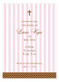 Pink Stripes and Cross Invitation
