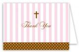 Pink Stripes and Cross Note Card