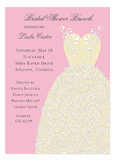 Pink Swirl Bridal Dress Invitation
