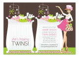 Pink Twins Chic Crib Mom Invitation