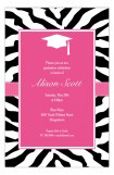 Pink Zebra Grad Invitation