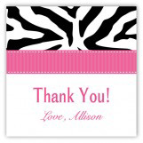 Pink Zebra Square Sticker