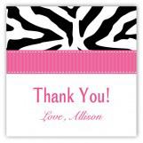 Pink Zebra Square Sticker