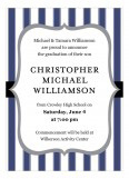 Pinstripe Graduation Navy Invitation